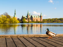 Mooring at the Castle Lake, Frederiksborg Slot, Hillerod, Denmark Stock Images