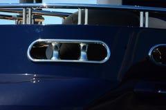 Mooring Chock on megayacht transom. Aft corner of motoryacht at the dock Royalty Free Stock Image