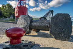Mooring cleat anchor and Sea buoy Royalty Free Stock Photos