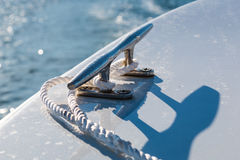 Mooring Cleat with Rope on Boat Royalty Free Stock Image