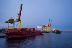 Mooring and container ships Stock Photography