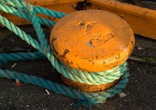 Mooring detail. On a old ship in port Stock Image