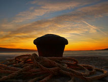 Mooring detail in sunset 2 stock photo