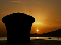 Mooring detail in sunset royalty free stock images