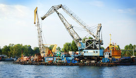 Mooring at the dismantling of old ships Stock Images