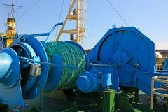 Mooring equipment on board Stock Photo