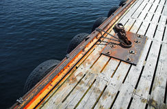 Mooring equipment on wooden pier Royalty Free Stock Photography