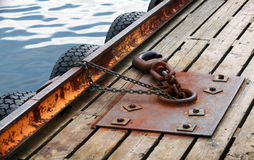 Mooring equipment on wooden pier Stock Images