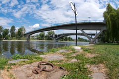 Mooring eye and two bridges Stock Images
