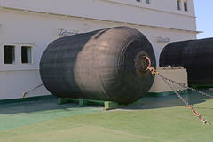 Mooring fenders on the deck Royalty Free Stock Photos