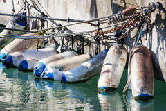 Mooring with fenders Stock Photo