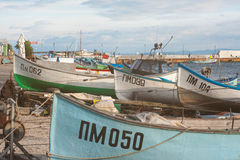 Mooring fishing boats in the Bulgarian town of Pomorie Royalty Free Stock Photography