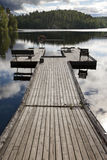 The mooring on the forest lake. Finland Royalty Free Stock Photo