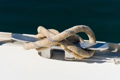 Mooring line attached to the cleat Royalty Free Stock Photo