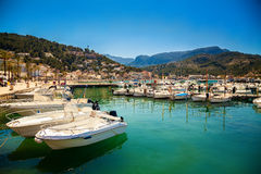 Mooring line with boats in Port de Soller Stock Images