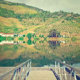 Mooring Line. On the River Douro, Portugal, Instagram Effect Royalty Free Stock Image