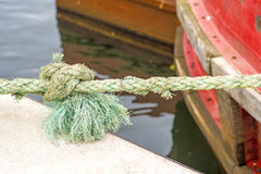 Mooring line of a trawler. With knot Royalty Free Stock Photo