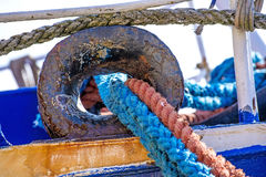 Mooring line of a trawler Stock Photos