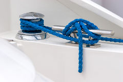 Mooring line turns. Blue mooring line turns. Yacht royalty free stock image
