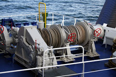 Mooring lines on a ferry. Reels used for mooring on a Baltic ferry Royalty Free Stock Photography