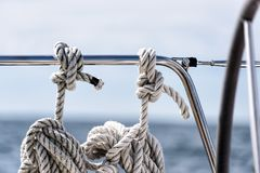 Mooring lines on a sailing yacht Royalty Free Stock Photo