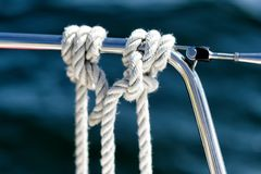 Mooring lines on a sailing yacht Stock Images
