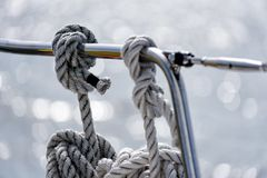 Mooring lines on a sailing yacht Stock Photos