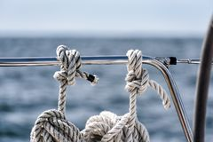Mooring lines on a sailing yacht Stock Photography