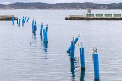 Mooring lines for small boats in the little harbour of Lyskil, Sweden. Lysekil is situated at the mouth of the Gullmarn fjord, which is a conservation area royalty free stock photo