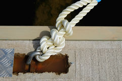 mooring lines tied Stock Images