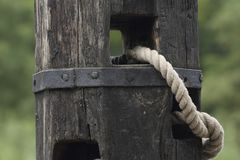 Mooring-mast and rope Stock Images