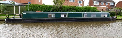 Mooring narrowboat. On the Shropshire Union Canal in Market Drayton royalty free stock photos