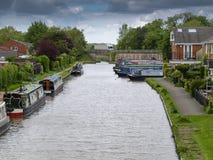 Mooring narrowboats Royalty Free Stock Photo