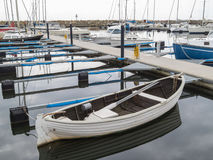 Mooring old white boat Royalty Free Stock Photo