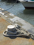 Mooring pin for medium size boat. Vertical orientationn picture Royalty Free Stock Photography
