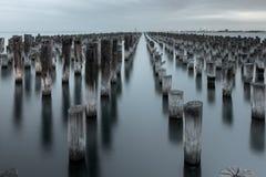 Mooring poles at Princes Pier Stock Image