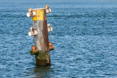 A mooring post in the dutch harbour of Rotterdam royalty free stock photography