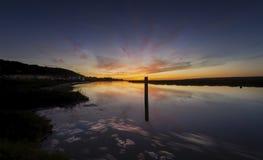 Mooring post on the Loughor estuary stock photo