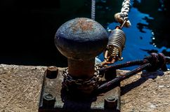 Mooring post on the waterfront in a small marina, element for mo royalty free stock images