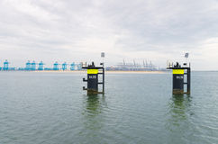Mooring posts in rotterdam harbor Stock Images
