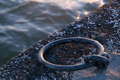 Mooring Ring. In old  pier Stock Images