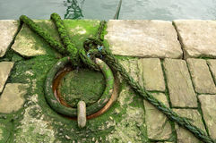 Mooring ring on dock. Metallic and rusty mooring ring on dock Royalty Free Stock Photography