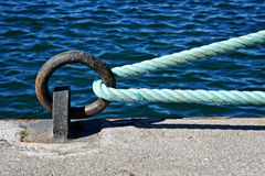 Mooring ring on dock with rope Stock Images