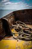 Mooring rope. In Boat Thailand Royalty Free Stock Photo