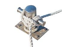 Mooring rope and bollard Stock Photos
