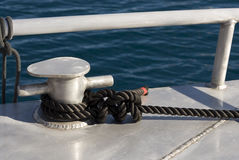 Mooring rope on a cleat Royalty Free Stock Photo