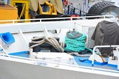 Mooring rope on deck Stock Photo