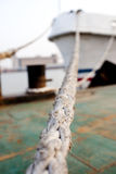 Mooring Rope linked with a rescue ship Royalty Free Stock Image