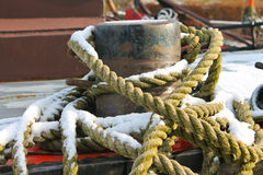 Mooring rope for pier bollards Royalty Free Stock Photo