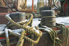 Mooring rope for pier bollards Royalty Free Stock Photos